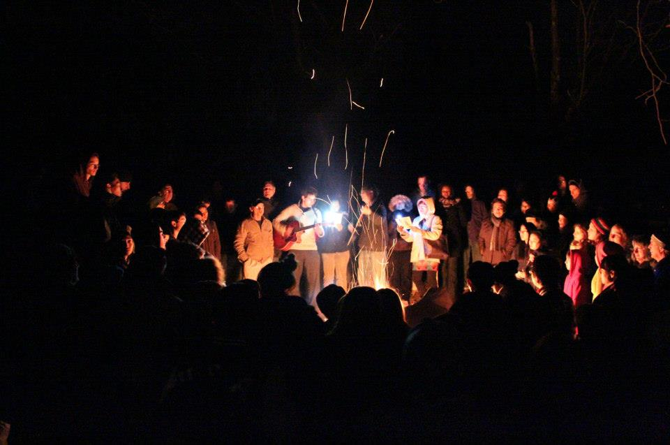 Photo of the midnight Campfire at last year's Winter Retreat